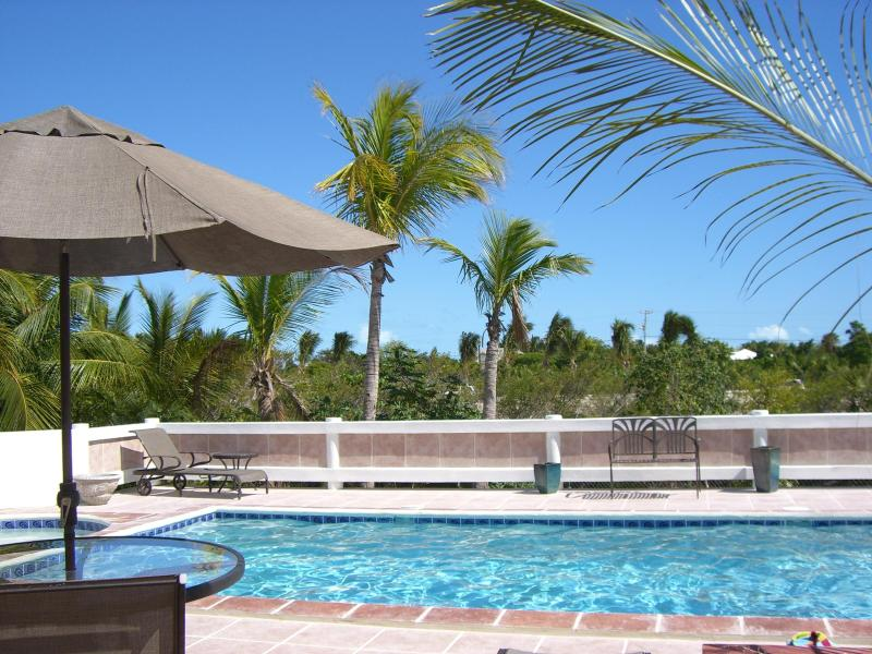 Backyard pool at Outside of Le Castellet provo villa on Turks and Caicos Islands