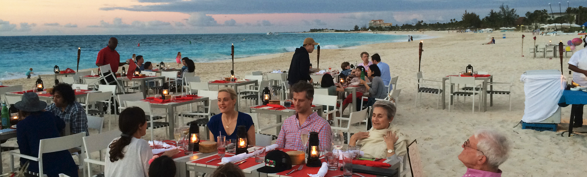 Dinner on the Grace Bay sandy beach at Turks and Caicos Islands