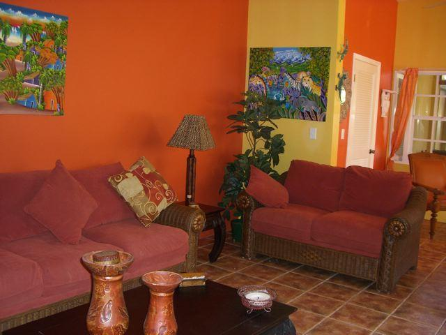 Living room at Outside of Le Castellet provo villa on Turks and Caicos Islands