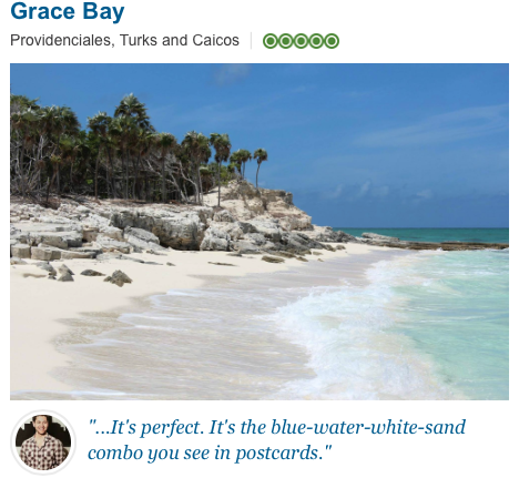 It's perfect. It's the blue water white sand combo you see in postcards
