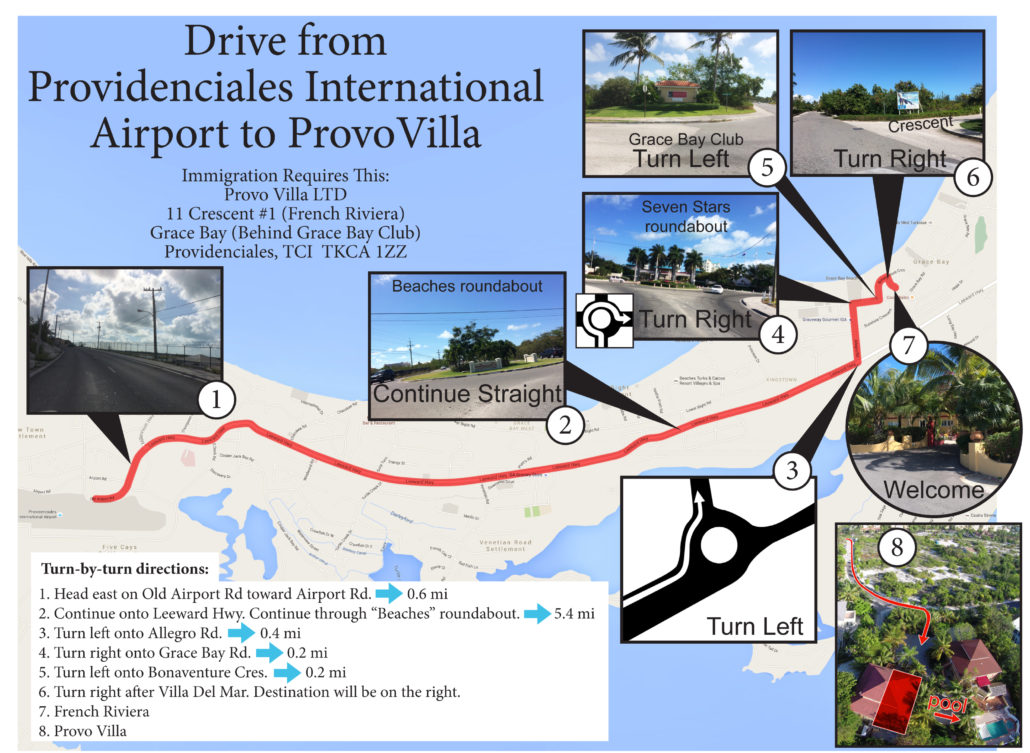 Drive from Providenciales International Airport to ProvoVilla 11 Crescent TKCA 1ZZ