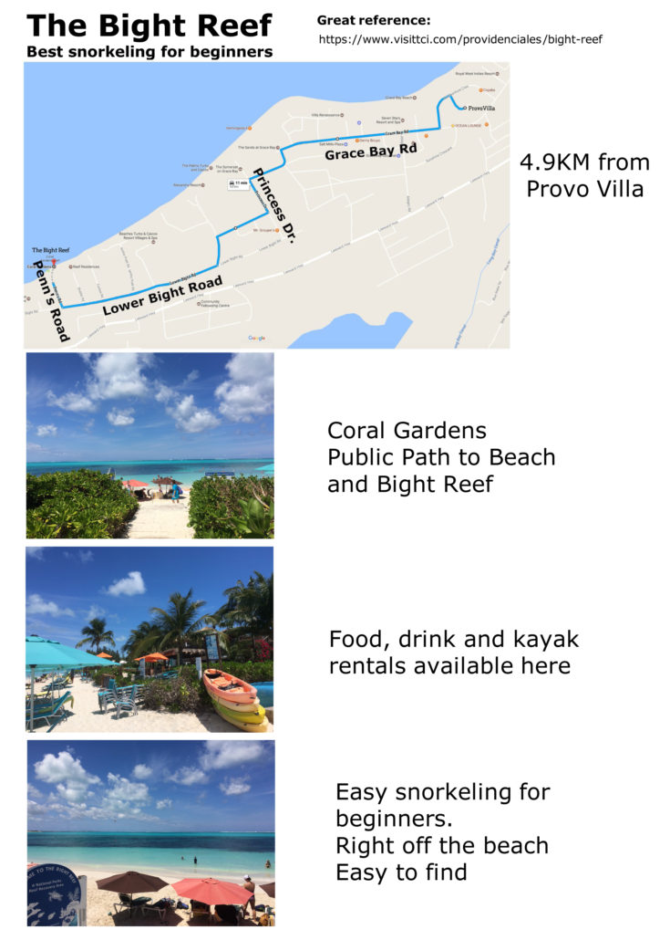 Directions from ProvoVilla to The Bight Reef for snorkeling